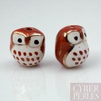 Perle en porcelaine blanc brun - chouette