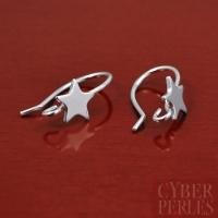 Crochets d'oreilles étoiles argent rhodié