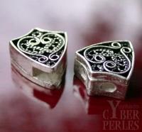 Perle style oriental en argent - 3 trous