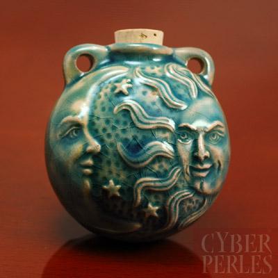 Pendentif-fiole ceramique raku - celeste
