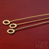 Epingle anneau torsadé en vermeil - 54 mm