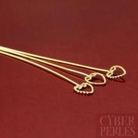 Epingle anneau torsadé coeur en vermeil - 55 mm
