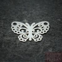 Breloque connecteur en argent - papillon