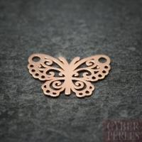 Breloque connecteur papillon en vermeil rose