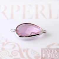 Connecteur verre facetté - argenté rose