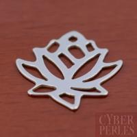 Breloque fleur de lotus en argent rhodié