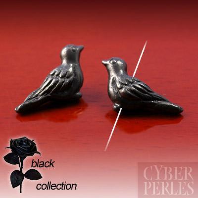 Perle en metal noir - colombe