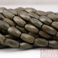 Perles tubes twistés en bois gris des Philippines