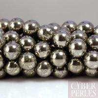 Perle ronde en pyrite 10 mm - grade A