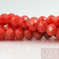 Perles rondelles facettées en verre - rouge corail