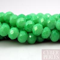 Perles rondelles facettées en verre - vert clair