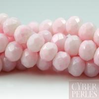 Perles rondelles facettées en verre - rose pastel