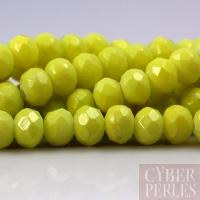 Perles rondelles facettées en verre - jaune citron