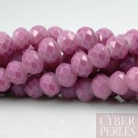 Perles rondelles facettées en verre - pastel lavande