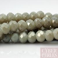 Perles rondelles facettées en verre - gris nuage