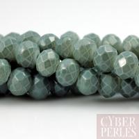 Perles rondelles facettées en verre - ardoise
