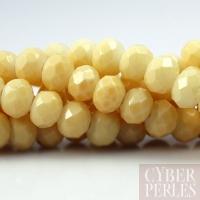 Perles rondelles facettées en verre - vanille