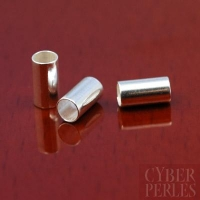 Perle tube à écraser en argent - 6 x 3 mm