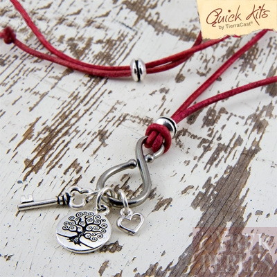 Kit collier grigri arbre de vie, coeur, cle