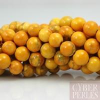 Perles rondes en howlite jaune 6 mm