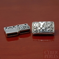 Fermoir magnétique en métal argenté