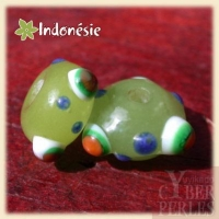 (Lot de 60) Perles indonésiennes en verre - vert