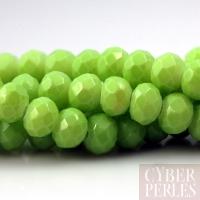 Perles rondelles facettées en verre - citron vert
