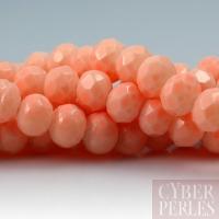 Perles rondelles facettées en verre - pêche