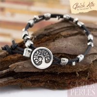 Kit bracelet cuir, bouton arbre argenté