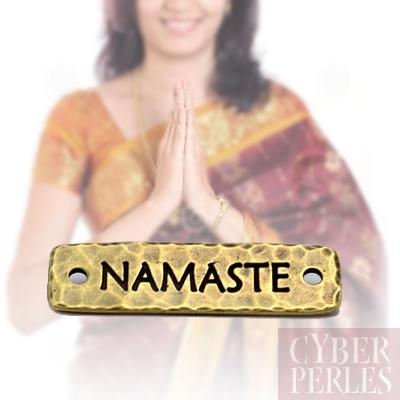 Plaquette a riveter Namaste - bronze antique