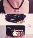 Bracelet collier ruban coeur oiseau