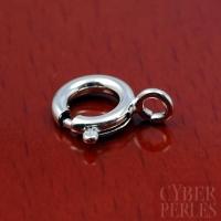 Fermoir ressort 8 mm en argent rhodié