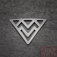 Breloque triangle chevrons argent rhodié