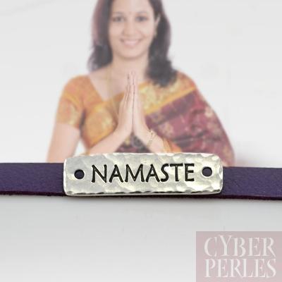 Plaquette a riveter Namaste argentee