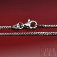 Chaîne argent rhodié maille diamantée 40 cm