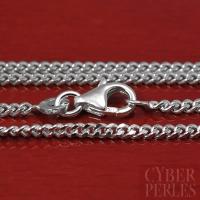 Chaîne argent rhodié maille diamantée - 60 cm