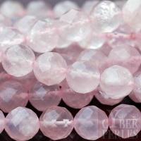 Perles rondes facettées en quartz rose 8 mm
