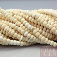 Fil de perles en bois de coco 5 mm - ivoire