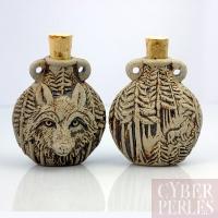 Pendentif-fiole en céramique - tête de loup