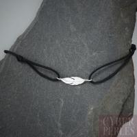 Bracelet cordon et plume en argent 925