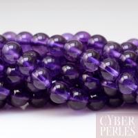 Perle ronde en améthyste grade AA - 6 mm