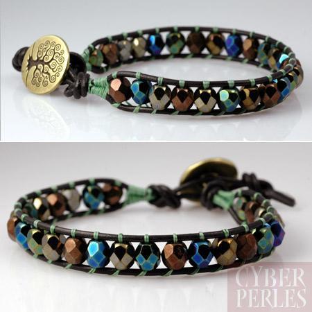 Exemple wrap bracelet iris fire cyberperles - Comment faire un bracelet avec des boutons ...