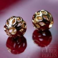 Perles ajourées rondes dorées 10 mm