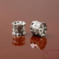 Tube forme bobine argent 925 et cristal