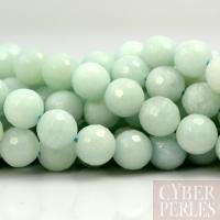 Perle boule facettée en amazonite - 8 mm