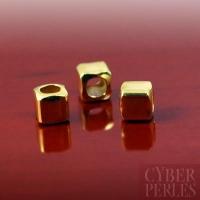 Perle en vermeil - cube chanfreiné (arrondi) 4 mm