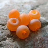 Perles rondes aspect givré - orange