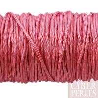 Cordon en tresse de soie 1,5 mm - rose