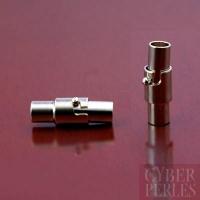 Fermoir magnétique sécurisé pour cordon 5 mm - argenté