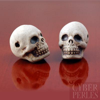 Perle en ceramique - tete de mort